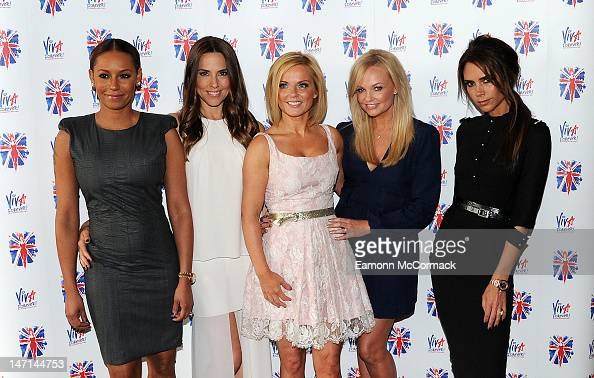 Melanie Brown Melanie Chisholm Geri Halliwell Emma Bunton and Victoria Beckham of the Spice Girls attend launch of new musical based on the Spice...