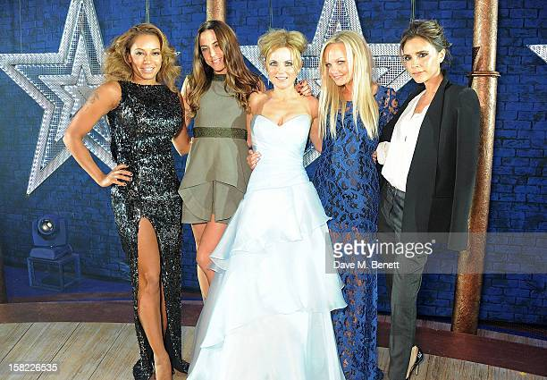 Melanie Brown Melanie Chisholm Geri Halliwell Emma Bunton and Victoria Beckham pose backstage during the Gala Press Night performance of 'Viva...