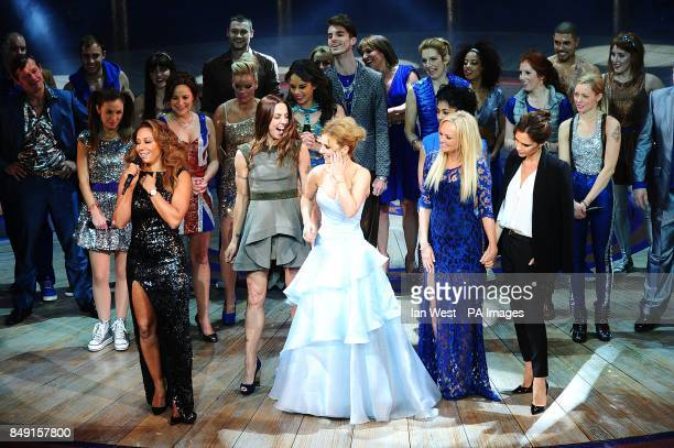 Melanie Brown Melanie Chisholm Geri Halliwell Emma Bunton and Victoria Beckham with the cast during the press night of Viva Forever at the Piccadilly...