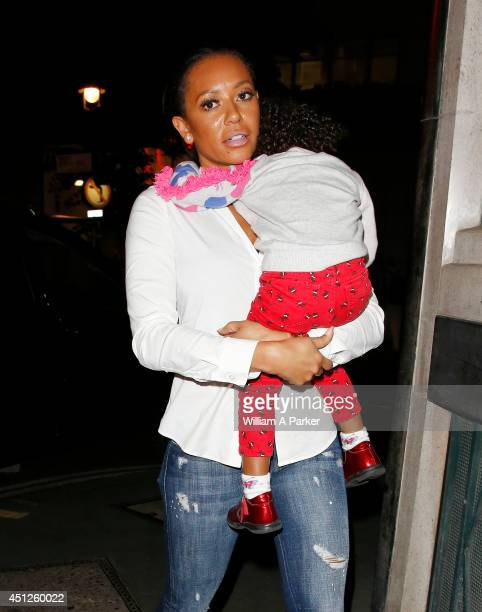 Melanie Brown seen leaving Drury Lane Theatre after seeing 'Charlie and the Chocolate Factory' on June 25 2014 in London England