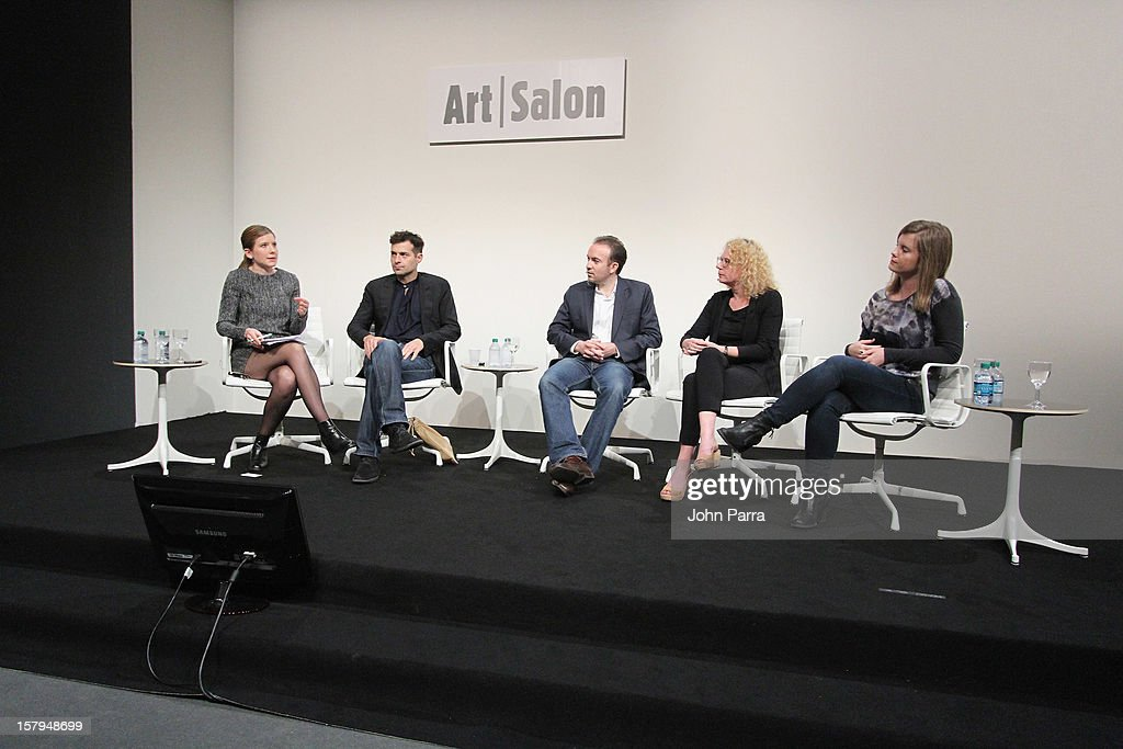 Melanie Buhler, Curator, Lunch Bytes, artist Miltos Manetas, Sebastian Cwilich, President and COO, Art.sy, Director, House of Electronic Arts and Lindsay Howard, Curatorial Director, 319 Scholes speak during Art Salon at Art Basel Miami Beach 2012 at the Miami Beach Convention Center on December 7, 2012 in Miami Beach, Florida.