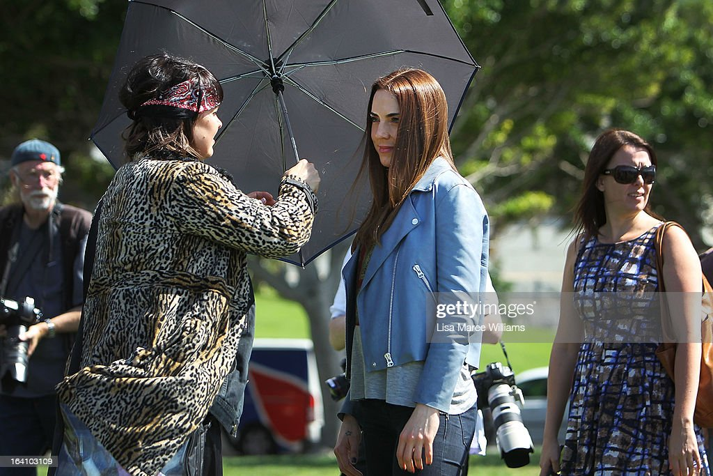 Melanie C from the cast of Jesus Christ Superstar is shaded by a umbrella during a media call at Hicksons Road Reserve in The Rocks, on March 20, 2013 in Sydney, Australia.