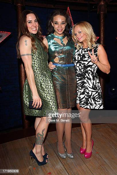 Melanie C with Hannah JohnKaman and Emma Bunton attend an after party following the final production of 'Viva Forever' at the Piccadilly Theatre on...