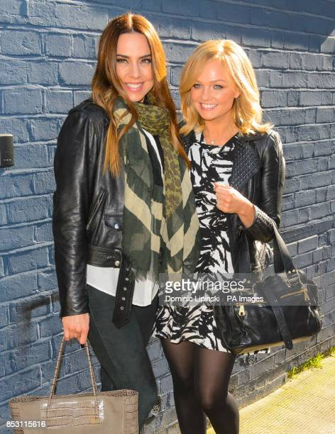Melanie Chisholm and Emma Bunton arriving at Sarm Studios in west London for the filming of the video for the official England 2014 FIFA World Cup...