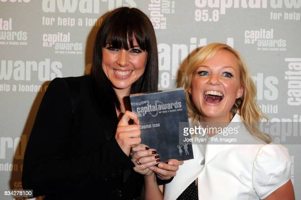 Melanie Chisholm and Emma Bunton from the Spice Girls win the Icon award at the 2008 Capital Awards held at the Riverbank Plaza Hotel in central...
