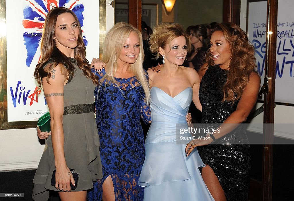 Melanie Chisholm, Emma Bunton, Geri Halliwell and Melanie Brown attend the press night of 'Viva Forever', a musical based on the music of The Spice Girls at Piccadilly Theatre on December 11, 2012 in London, England.