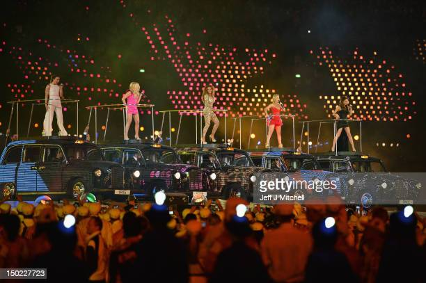 Melanie Chisholm Emma Bunton Melanie Brown Geri Haliwell and Victoria Beckham of the Spice Girls perform during the Closing Ceremony on Day 16 of the...