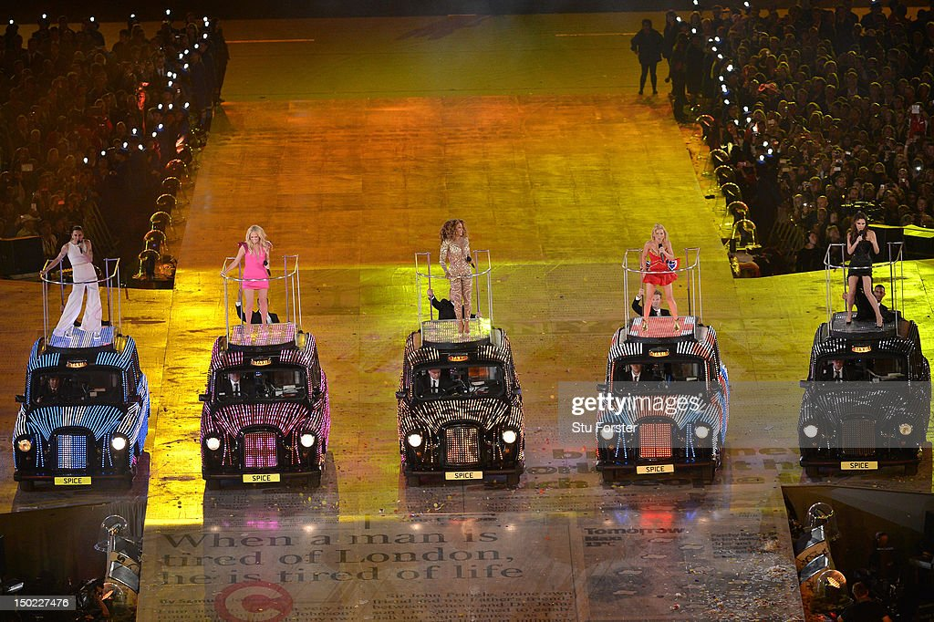 Melanie Chisholm, Emma Bunton, Melanie Brown, Geri Halliwell and Victoria Beckham of The Spice Girls perform during the Closing Ceremony on Day 16 of the London 2012 Olympic Games at Olympic Stadium on August 12, 2012 in London, England.