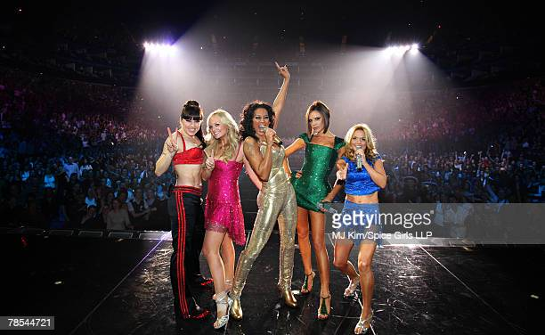 ACCESS *** Melanie Chisholm Emma Bunton Melanie Brown Victoria Beckham and Geri Halliwell of the Spice Girls perform on stage during The Return of...