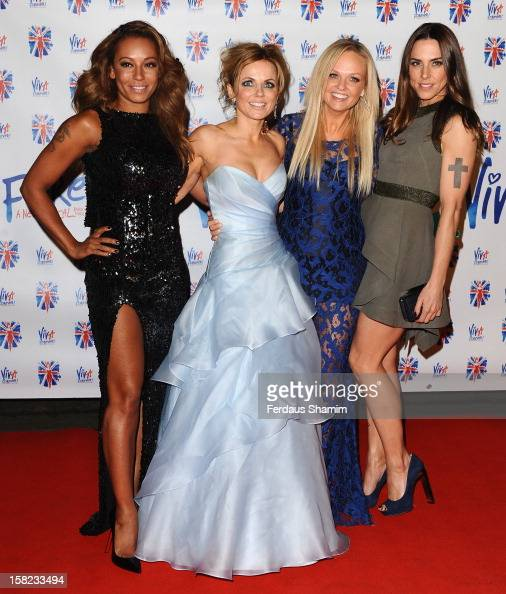 Melanie Chisholm Geri Halliwell Emma Bunton and Melanie Brown attend the after party for the press night of 'Viva Forever' a musical based on the...