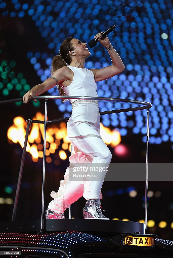 Melanie Chisholm of The Spice Girls performs during the Closing Ceremony on Day 16 of the London 2012 Olympic Games at Olympic Stadium on August 12, 2012 in London, England.