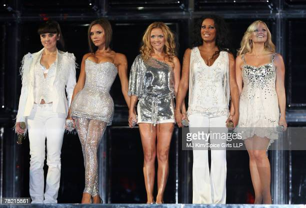 Melanie Chisholm Victoria Beckham Geri Halliwell Melanie Brown and Emma Bunton of Spice Girls performs during the first night of The Return of Spice...