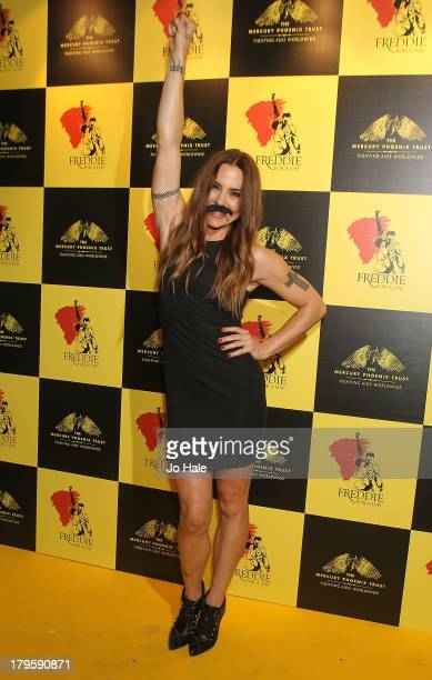 Melanie Chisolm wears moustache and attends the Freddie for a Day charity event in aid of The Mercury Phoenix Trust at The Savoy Hotel on September 5...