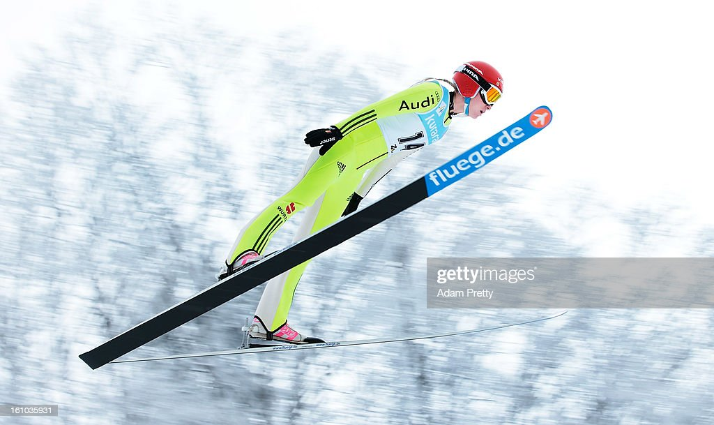 Melanie Faisst of Germany jumps in the first round of competition during day one of the FIS Women's Ski Jumping World Cup at Zao Jump Stadium on February 9, 2013 in Yamagata, Japan.