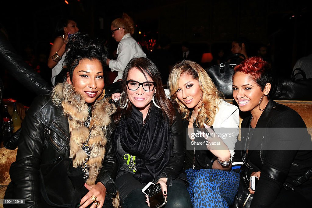 Melanie Fiona, Angie Martinez, Adrienne Bailon and Esther attend the birthday celebration of DJ Enuff at The Griffin on January 30, 2013 in New York City.