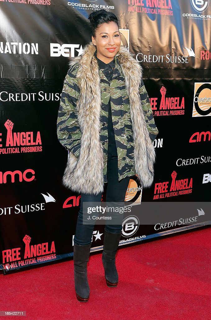 Melanie Fiona attends the 'Free Angela and All Political Prisoners' New York Premiere at The Schomburg Center for Research in Black Culture on April 3, 2013 in New York City.