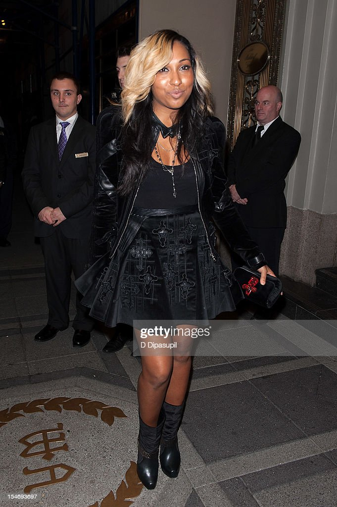 Melanie Fiona is seen arriving at The Waldorf Towers on October 24, 2012 in New York City.