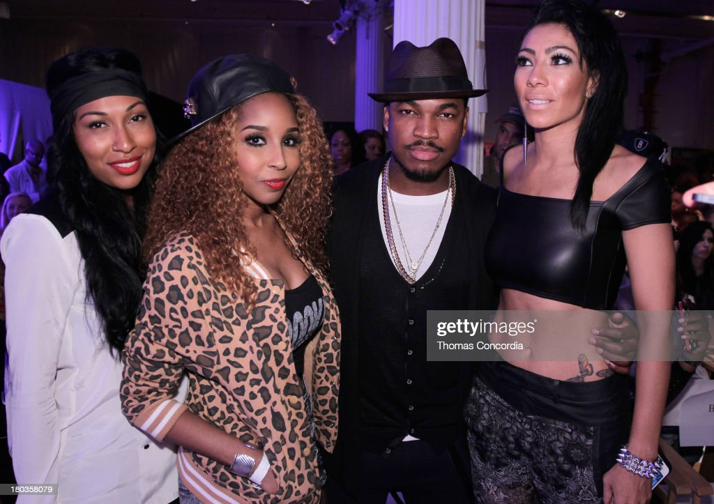 <a gi-track='captionPersonalityLinkClicked' href=/galleries/search?phrase=Melanie+Fiona&family=editorial&specificpeople=5543211 ng-click='$event.stopPropagation()'>Melanie Fiona</a>, Necole Bitchie, <a gi-track='captionPersonalityLinkClicked' href=/galleries/search?phrase=Ne-Yo&family=editorial&specificpeople=451543 ng-click='$event.stopPropagation()'>Ne-Yo</a> and Bridget Kelly attend FrontRow by Shateria Moragne-El at the STYLE360 Fashion Pavilion in Chelsea on September 11, 2013 in New York City.