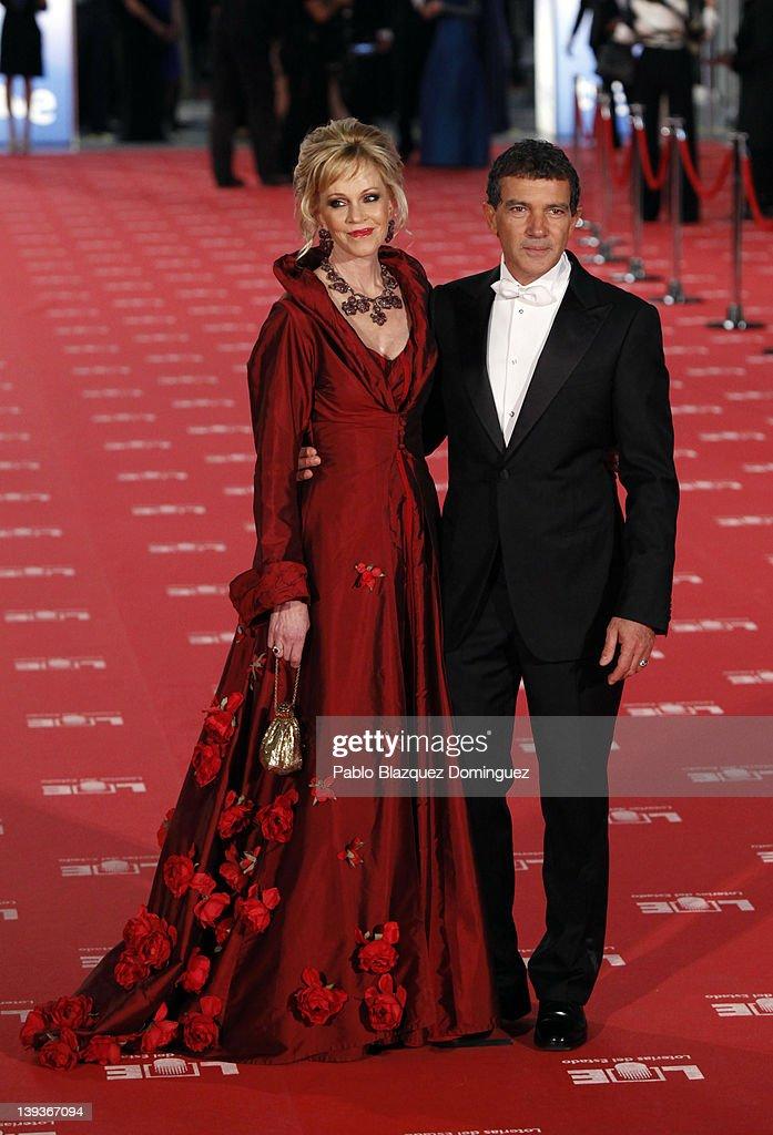Melanie Griffith and Antonio Banderas arrives to Goya Cinema Awards 2012 ceremony at the Palacio Municipal de Congresos on February 19 2012 in Madrid...