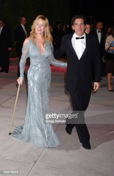 Melanie Griffith and Antonio Banderas during 2005 Vanity Fair Oscar Party Arrivals at Mortons in Los Angeles California United States