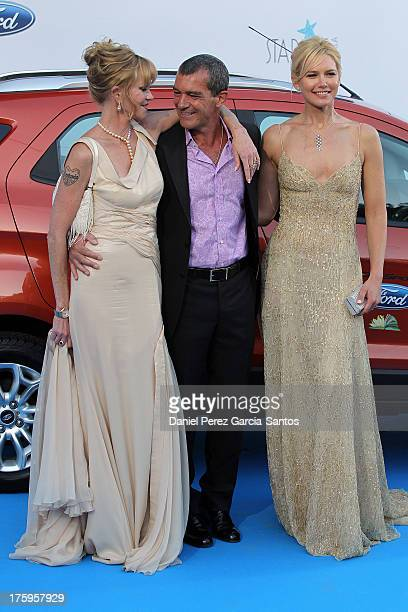 Melanie Griffith Antonio Banderas and Valeria Mazza attends the 4rd annual Starlite Charity Gala on August 10 2013 in Marbella Spain