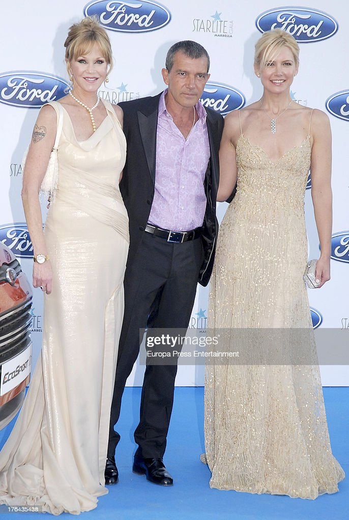 Melanie Griffith, Antonio Banderas and Valeria Mazza attends the 4rd annual Starlite Charity Gala on August 10, 2013 in Marbella, Spain.