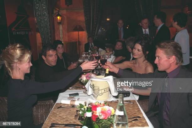 Melanie Griffith Antonio Banderas Catherine ZetaJones and Michael Douglas at dinner