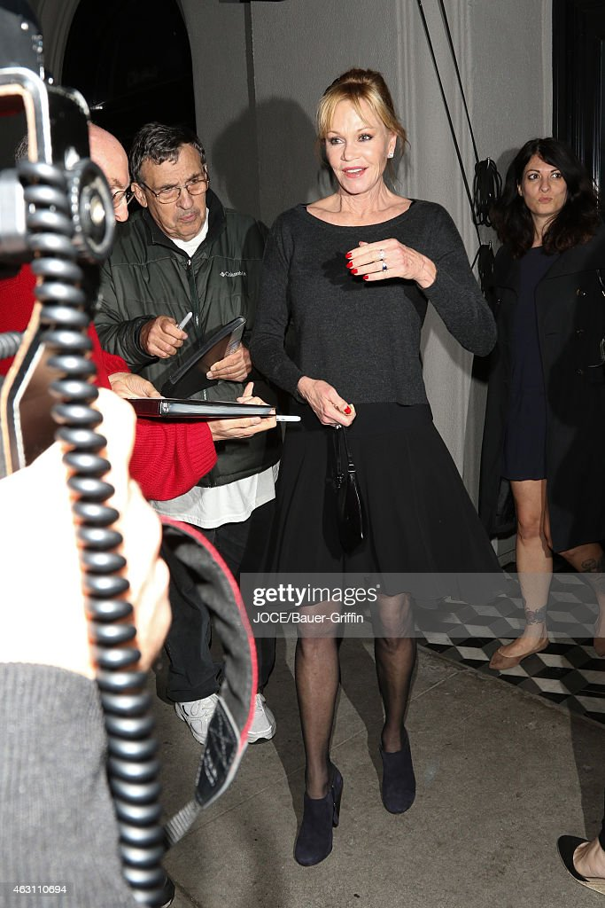 Melanie Griffith is seen at Craig's restaurant in Beverly Hills on February 09 2015 in Los Angeles California