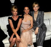 NEW YORK JUNE 13 Melanie Griffith Lucy Liu and Cate Blanchett in the green room at the 64th Annual Tony Awards at Radio City Music Hall on June 13...