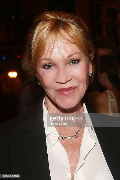 Melanie Griffith poses backstage at the hit musical 'Hamilton' on Broadway at The Richard Rogers Theater on September 3 2015 in New York City