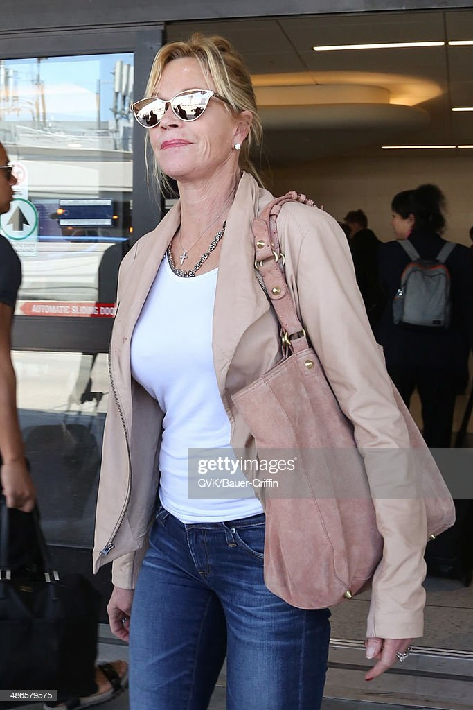 Melanie Griffith seen at LAX on April 24, 2014 in Los Angeles, California.