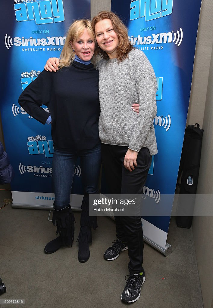 <a gi-track='captionPersonalityLinkClicked' href=/galleries/search?phrase=Melanie+Griffith&family=editorial&specificpeople=171682 ng-click='$event.stopPropagation()'>Melanie Griffith</a> (L) visits <a gi-track='captionPersonalityLinkClicked' href=/galleries/search?phrase=Sandra+Bernhard&family=editorial&specificpeople=204693 ng-click='$event.stopPropagation()'>Sandra Bernhard</a>'s 'Sandyland' on Andy Cohen's exclusive SiriusXM channel 'Radio Andy' at SiriusXM Studios on February 12, 2016 in New York City.