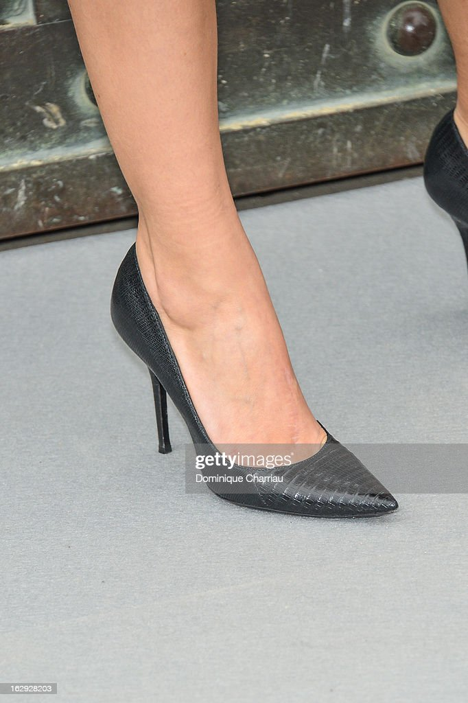 Melanie Laurent (shoe detail)arrives at the Christian Dior Fall/Winter 2013 Ready-to-Wear show as part of Paris Fashion Week on March 1, 2013 in Paris, France.