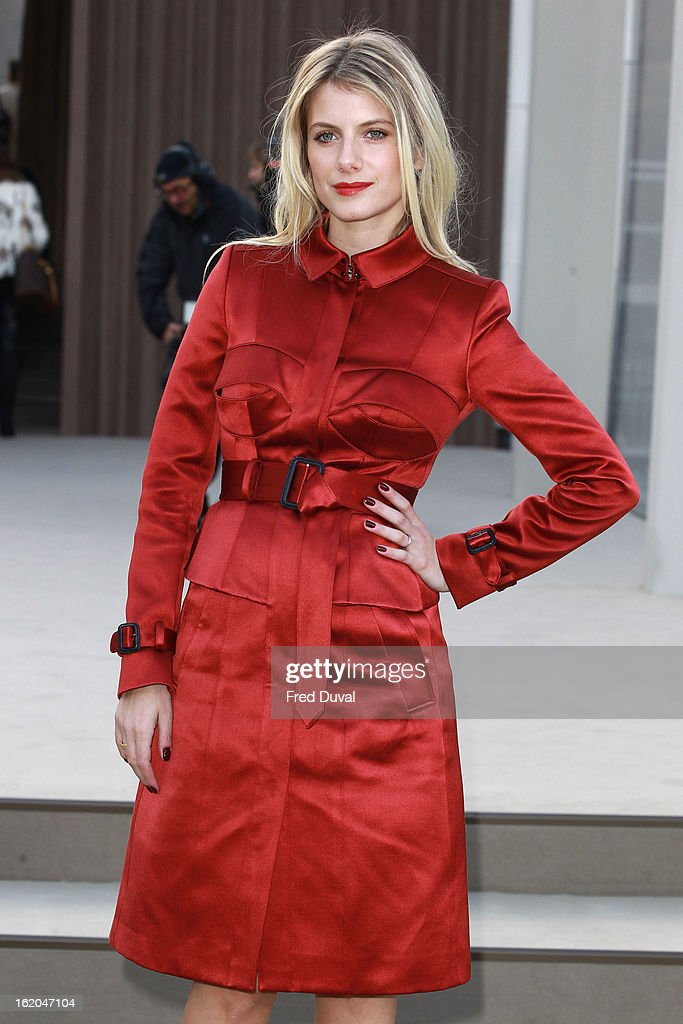 Melanie Laurent is pictured arriving at the Burberry Prorsum during London Fashion Week on February 18, 2013 in London, England.