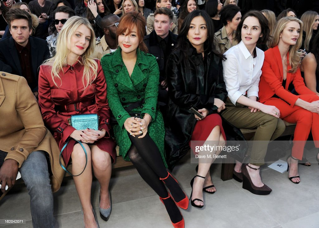 Melanie Laurent, Kim Hee-sun, Vicki Zhao, <a gi-track='captionPersonalityLinkClicked' href=/galleries/search?phrase=Michelle+Dockery&family=editorial&specificpeople=4047702 ng-click='$event.stopPropagation()'>Michelle Dockery</a> and <a gi-track='captionPersonalityLinkClicked' href=/galleries/search?phrase=Rosie+Huntington-Whiteley&family=editorial&specificpeople=2244343 ng-click='$event.stopPropagation()'>Rosie Huntington-Whiteley</a> sit in the front row for the Burberry Prorsum Autumn Winter 2013 Womenswear Show at Kensington Gardens on February 18, 2013 in London, England.