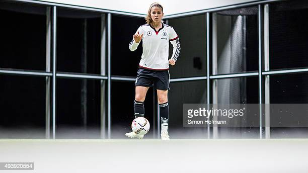 Melanie Leupolz attends a Germany Women's Footbonaut Training Session at on October 23 2015 in Zuzenhausen Germany