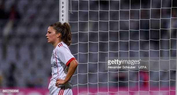 Melanie Leupolz of Bayern Muenchen reacts after the UEFA Women Champions League Round of 32 second leg match between FC Bayern Muenchen and Chelsea...
