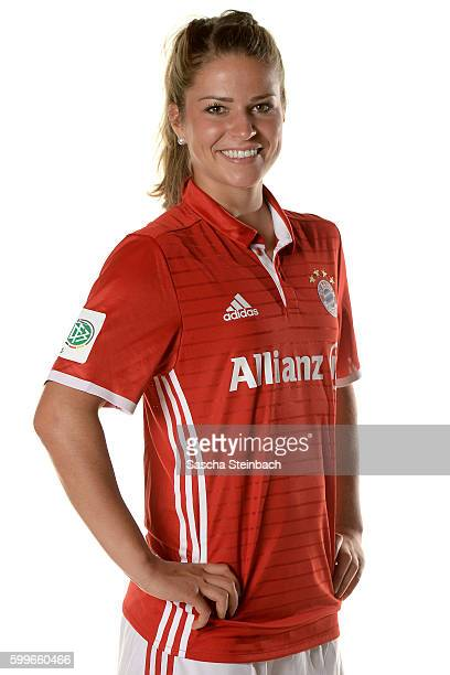 Melanie Leupolz of FC Bayern Muenchen poses during the Allianz Women's Bundesliga Club Tour on September 4 2016 in Aschheim Germany