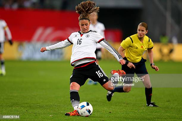 Melanie Leupolz of Germany kicks the ball during the Women's International Friendly match between Germany and England at SchauinslandReisenArena on...