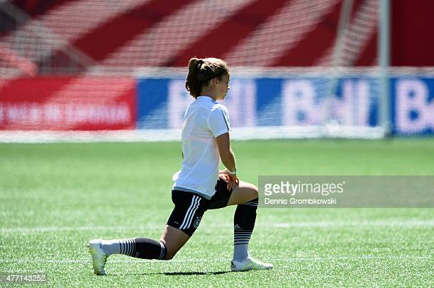 Melanie Leupolz of Germany practices during a training session at Winnipeg Stadium on June 14 2015 in Winnipeg Canada