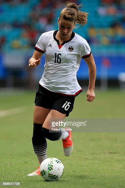 Melanie Leupolz of Germany runs with the ball during the Women's Football Quarterfinal match between China and Germany on Day 7 of the Rio 2016...