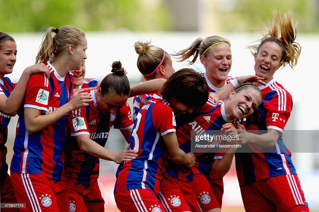 Melanie Leupolz (2nd R) of Muenchen celebrates scoring the opening goal with her team mates during the Allianz Frauen-Bundesliga match between FC Bayern Muenchen and SGS Essen at Stadion an der Gruenwalder Strafle on May 10, 2015 in Munich, Germany.