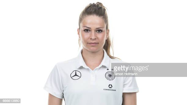Melanie Leupolz poses during the DFB Ladies Marketing Day on April 3 2017 in Frankfurt am Main Germany
