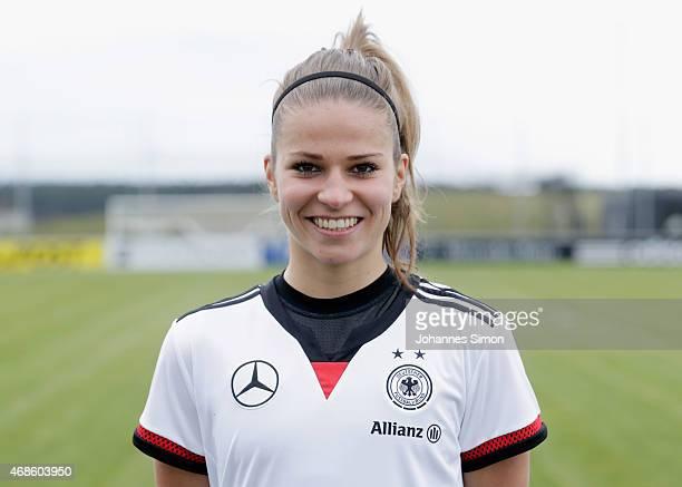 Melanie Leupolz poses during the team presentation of the German Women's national team at Adi Dassler Stadium on April 4 2015 in Herzogenaurach...