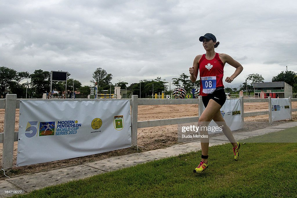 Melanie McCann of Canada competes in the Women's Pentathlon during the Modern Pentathlon World Cup Series 2013 at Complexo Deodoro on March 20, 2013 in Rio de Janeiro, Brazil.