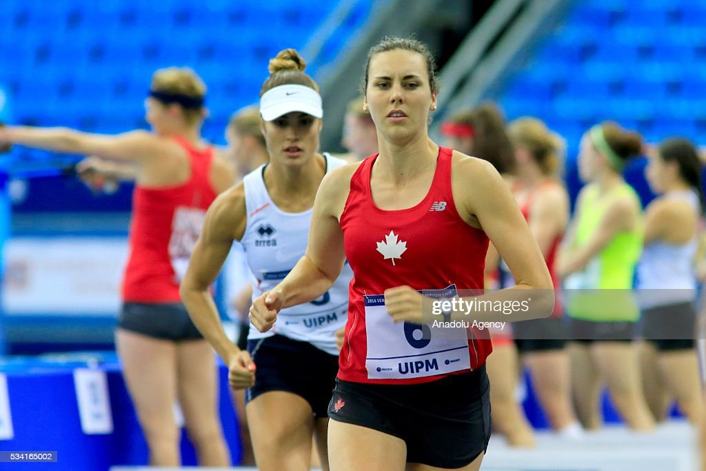 Melanie Mccann of Canada is seen the Combined of the Women Qualifications at the UIPM senior modern pentathlon world championships in Moscow, Russia, on May 25, 2016.