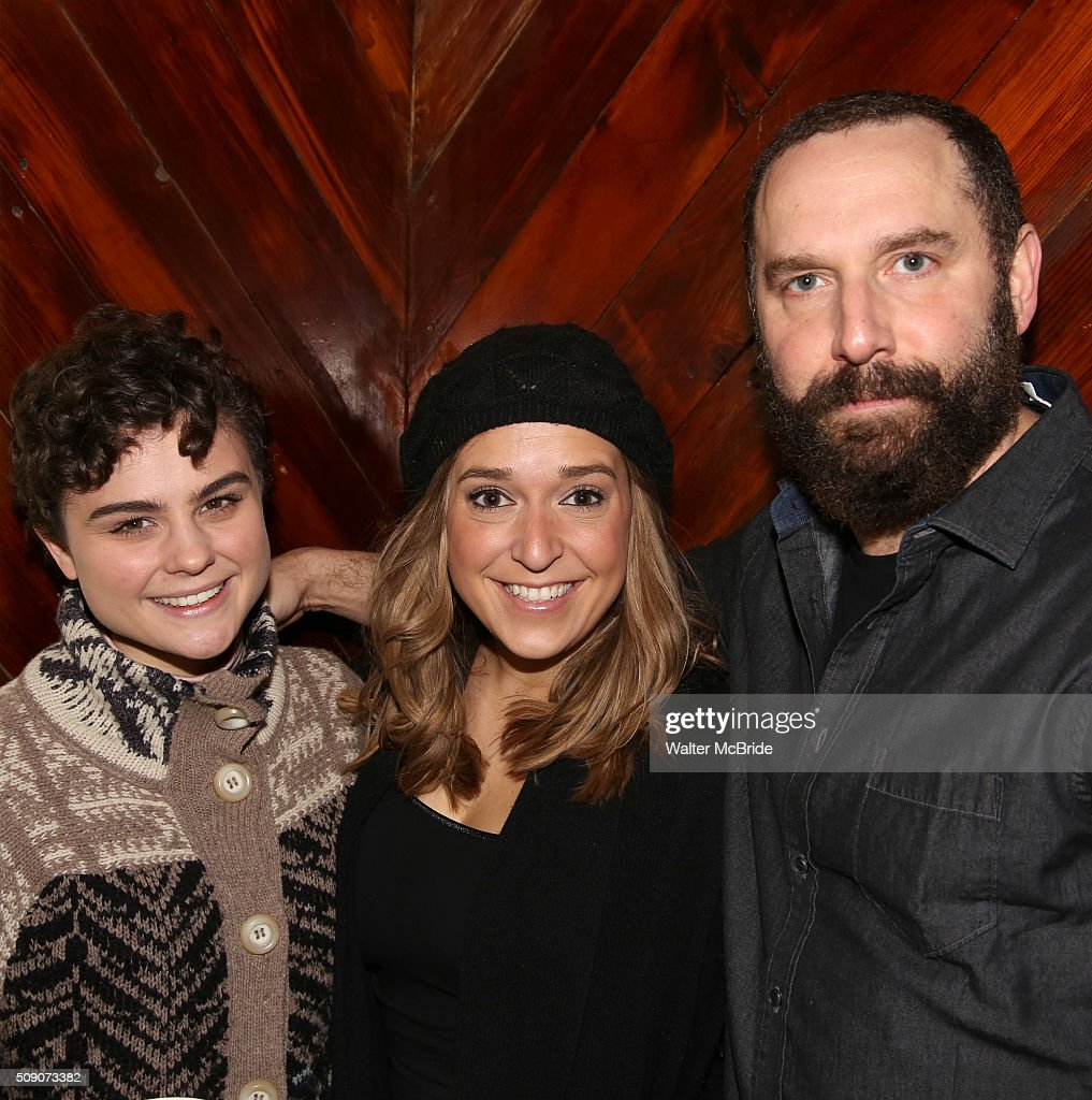 Melanie Moore, Jessica Vost and Adam Dannheisser during the Broadway Cast Recording of 'Fiddler on the Roof' at MSR Studios in Times Square on February 8, 2016 in New York City.
