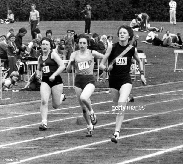 Melanie Moore surges to the front in her heat of the junior girls sprint to give Godiva another winner Leamington 4th August 1979