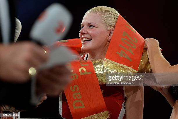 Melanie Mueller celebrates after winning her fight against Jordan Carver during the 'Das Grosse Prosieben Promiboxen' tv show at Castello on...