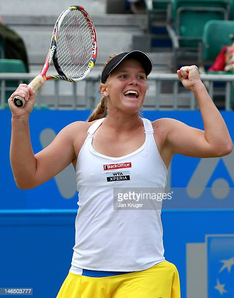 Melanie Oudin of USA celebrates victory over Jelena Jancovic of Serbia during the singles final match on day eight of the AEGON Classic at Edgbaston...